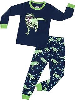 Pijama Niño Invierno Pijamas Dinosaurio Tiburón Animales para Niños-Manga Larga Niño Ropa de algodón Traje Dos Piezas 3 4 ...