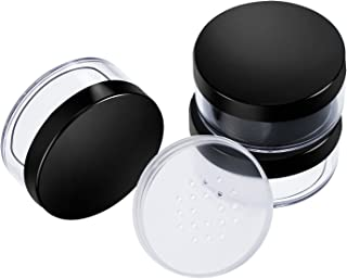 Hotop 3 Pack 50 ml Plastic Empty Powder Case Face Powder Makeup Container Blusher Cosmetic Container with Sifter and Lids, Black