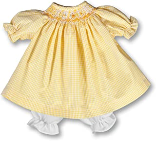 Rosalina Baby Collections Summer Yellow Gingham English Smocked Doll Dress 15