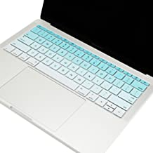 TOP CASE - Faded Ombre Series Keyboard Cover Silicone Skin Compatible with MacBook Pro 13 inch A1708 (No TouchBar) Release 2017 & 2016 / MacBook 12-inch Retina A1534 - Aqua Blue & White