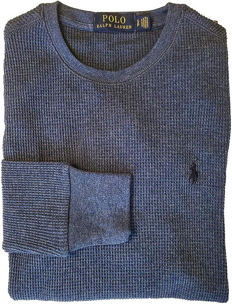 Polo Ralph Lauren Men's Waffle Knit Crew Neck Thermal Sleepware Shirt (Small, Blue Ocean Heather)