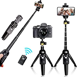 YUNTENG® Bluetooth Selfie Stick Tripod, Extendable Foldable Aluminum Selfie Stick with Detachable Wireless Remote for iPho...