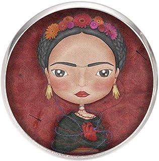 Spilla con perno in acciaio inossidabile, diametro 25 mm, spillo 0,7 mm, Fatto a Mano, Illustrazione Frida Ilustrador