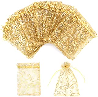 Organza Gift Bags 100Pcs Gold Sheer Organza Bag 4x6 Inch Mesh Favor Bags Drawstring Jewelry Rattan Printed Gift Pouches for Wedding Party Favors Baby Shower Christmas Gifts Candy Bags
