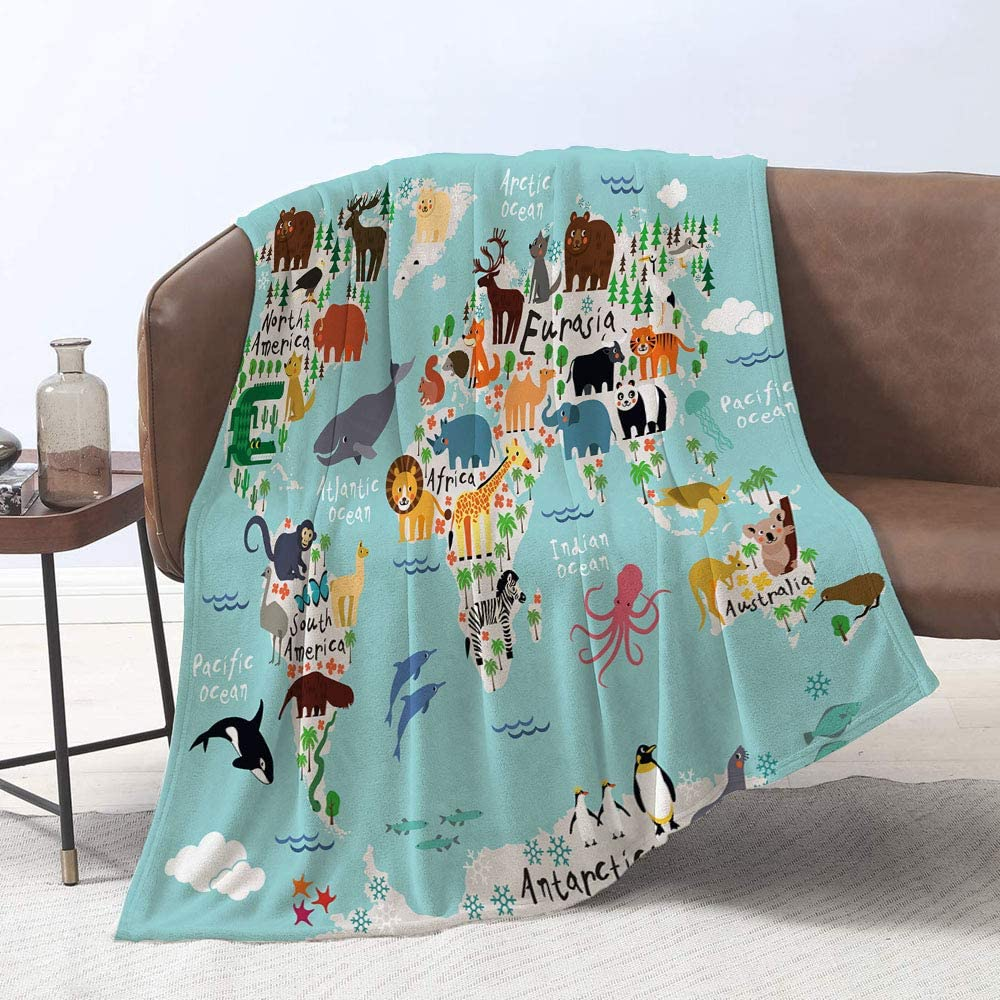 Lmorey Animal map of The World Children Max 49% OFF Throw for Bed Safety and trust Co Blanket