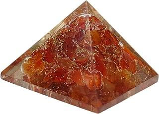 HARMONIZE Carnelian Orgone Pyramid Healing - Certified Orgonite Healing Crystal Energy Generator Home Office Décor Accessories