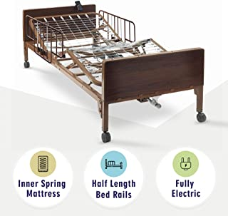 Full Electric Hospital Bed with innerspring Mattress and Half Rails Included - for Home Care Use and Medical Facilities - Fully Adjustable, Easy Transport Casters, Remote - 80