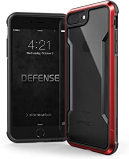 iPhone 8 Plus & iPhone 7 Plus Case, X-Doria Defense Shield Series - Military Grade Drop Tested, Anodized Aluminum, TPU, and Polycarbonate Protective Case for Apple iPhone 8 Plus & 7 Plus (Red)