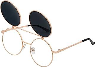 J&L Glasses Retro Flip-Up Round Goggles Seampunk Sunglasses
