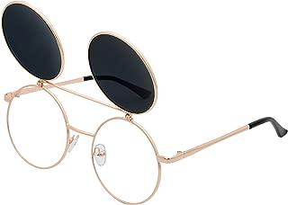 Retro Flip-Up Round Goggles Seampunk Sunglasses