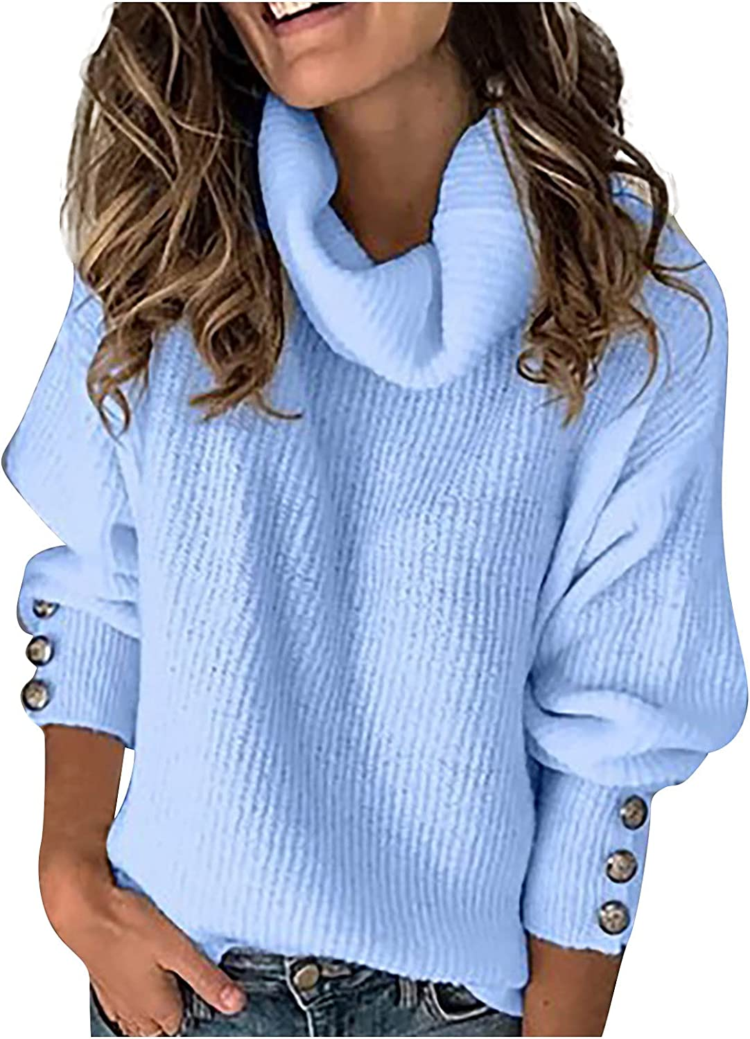 Sweaters 5% OFF for Women Turtle Neck Sleeve Knitted Long Button Ranking TOP5 Solid