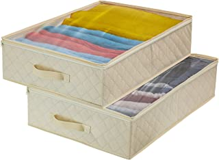 Sorbus Storage Bags Closet & Underbed Organizer Set, Clear Cover, Foldable with Carry Handles, Great for, Clothes, Linens, Bedding, Closets, Bedrooms, and More (Closet Organizer, Beige)