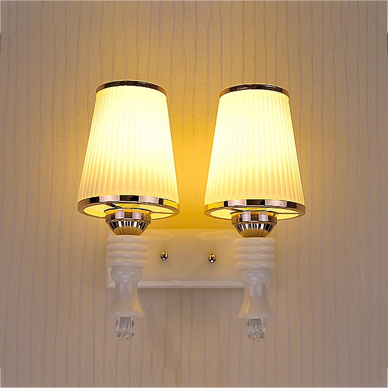 YYF Wandlampe Wandleuchte Doppel - Kopf Nachttischlampe Einfache Schlafzimmer Warm Wohnzimmer Aisle Glas LED Korridor Eingang Treppenlampe B06ZY6DXNP   | Modern