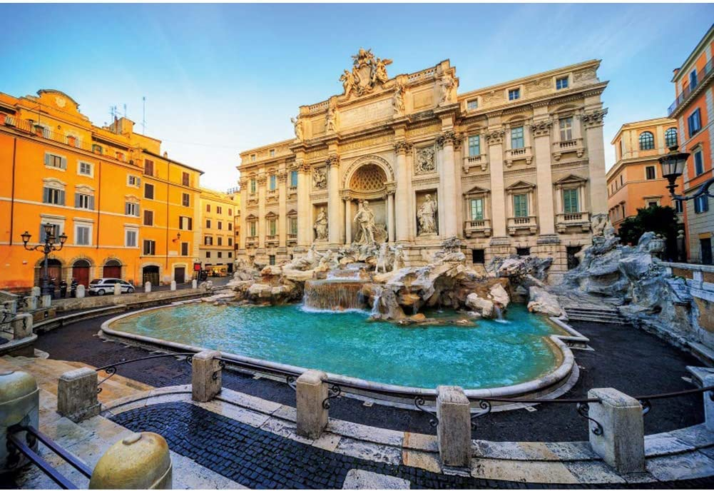 10x6.5ft Vinyl Rome Trevi Fountain Background Italy Landmark Building Roman Statues Photography Backdrop Europe Landmark Building Travel Wedding Holiday Adult Child Portrait Studio Prop