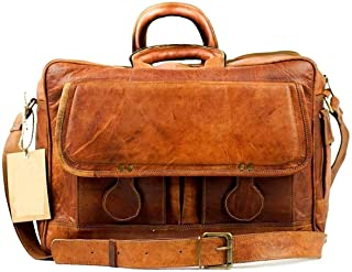 "Tuzech Leather Vintage Rustic Cross body Messenger Courier Satchel Bag Gift Men Women ~ Business Work Briefcase Carry 15"" Laptop Computer Book Handmade Rugged & Distressed ~ Everyday Office College School"