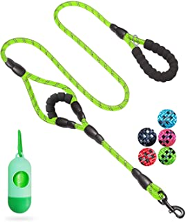 JSXD Dog Leash,5 FT Heavy Duty Double Handle Dog Leash with Comfortable Padded and Reflective,Rope Dog Leashes for Small,Medium,Large Dogs