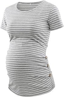 تي شيرت للحوامل بكم قصير من BBHoping بأكمام قصيرة من الجانب المكشكش تونيك برقبة مستديرة ملابس الحمل ماما