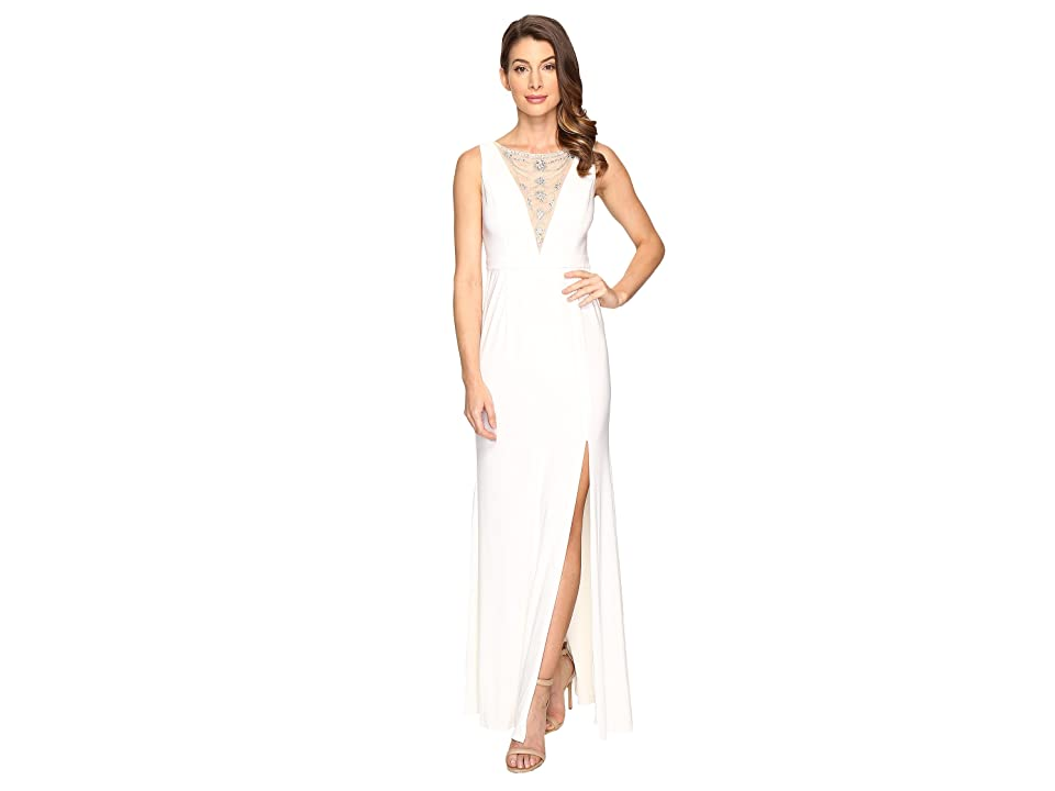 Adrianna Papell Jersey Halter Gown w/ Illusion (Ivory) Women