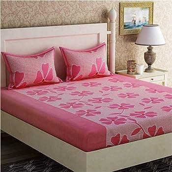 Panipat Textile Hub Microfibre Cotton 144 TC Bedsheet (Standard_Pink)