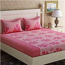 Panipat Textile Hub Microfibre Cotton 144TC Bedsheet (Standard_Pink)