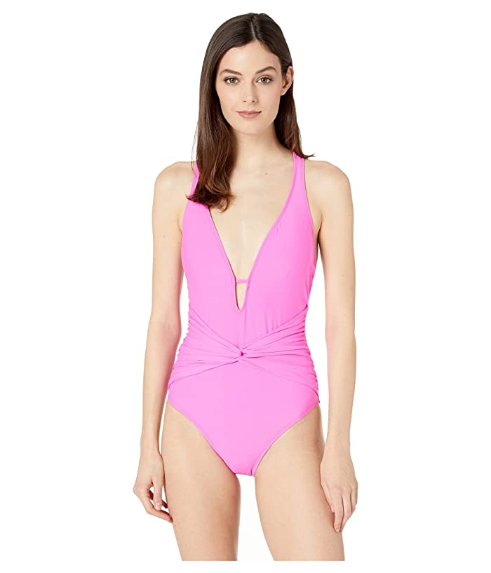 Athena Samba Solids Twist Front Plunge One-Piece with Tummy Control and Removable Soft Cups (Pink) Women