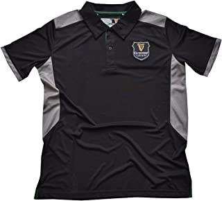 Black Guinness Polo Shirt With Grey Under Arm Design With Harp Crest