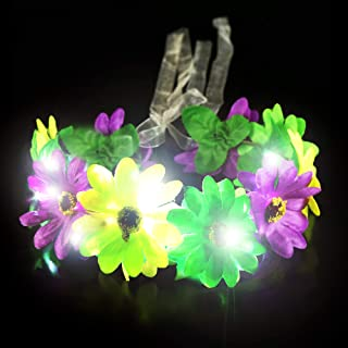 Fun Central BC959, 1 Pc LED Light-up Mardi Gras Flower Halo, Flower Wreath Crown, Glow Floral Headband, Fairy Halo Crown, Fancy Headpiece, Costume Party Accessories, Flower Hairpiece for Fairy Themed Party and Festivals