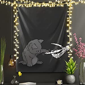 cool skull skeleton hand with cute cat animal Aesthetic Tapestry Wall Hanging For Party Bedroom Living Room Dorm Home Decor College Indie Wall Decor Picnic Mat blankets,Beach Throw Tapestries(60*51inch)