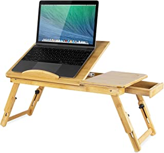 Mount-It! Laptop Bed Tray with Tilting Top and Pullout Storage Drawer | Adjustable Breakfast Table with Foldable Design | Eco-Friendly, Natural Bamboo Laptop Tray (MI-7212)