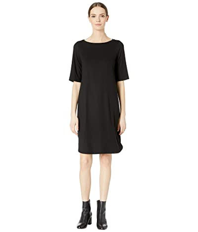 Eileen Fisher Bateau Neck Elbow Sleeve Dress (Black) Women