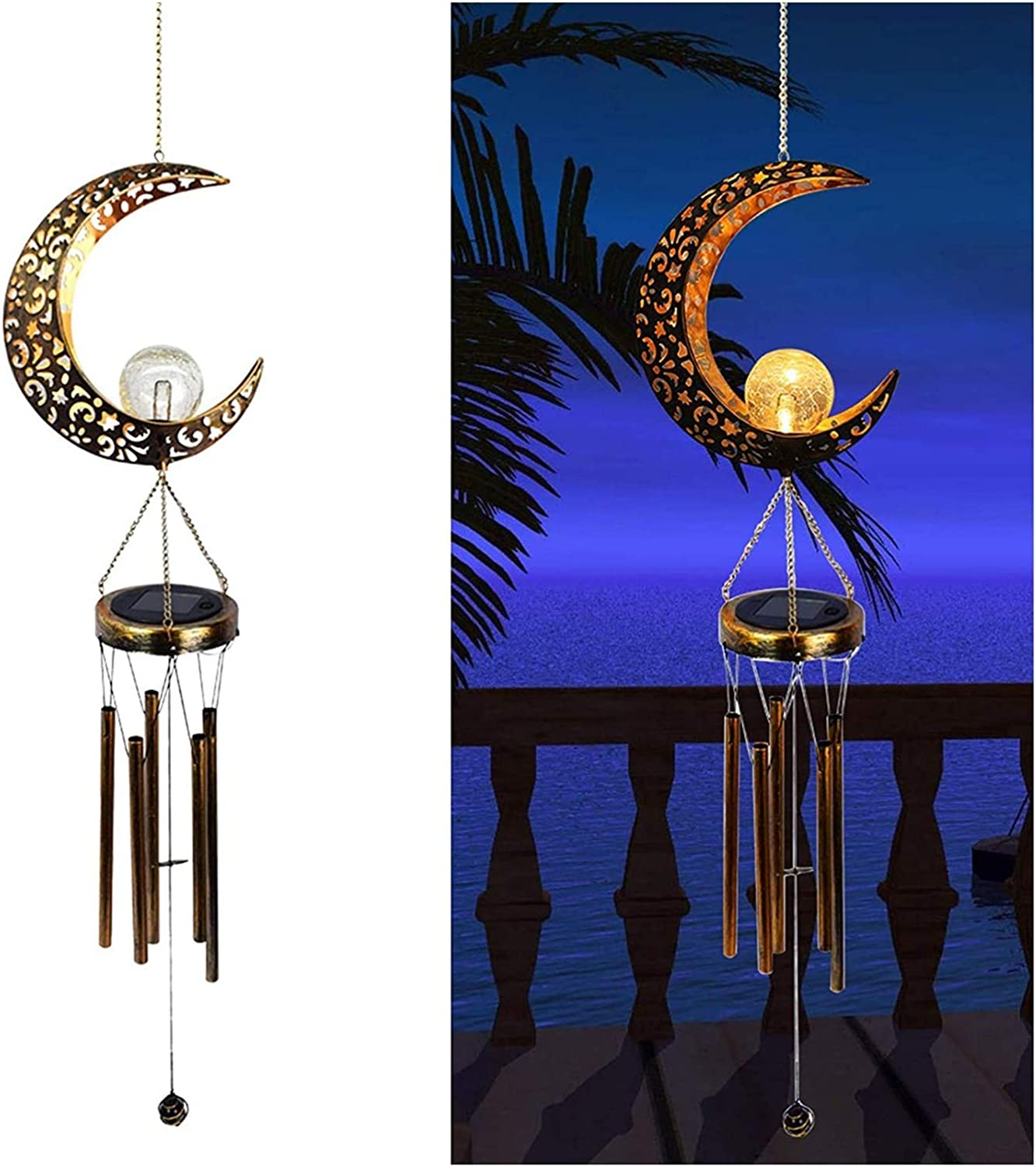 ZHXQ Solar Moon Wind Chime LED Bulb Cracked Cha Glass Outlet sale feature Credence