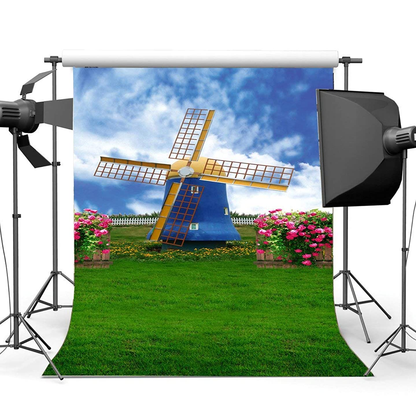 SZZWY 5X7FT/150X210cm Vinyl Photography Backdrop Dreamy Fairytale Dutch Windmill Flowers Grass Field Fantasy Backdrops Seamless Baby Kids Princess Wedding Background Photo Studio Props CA776