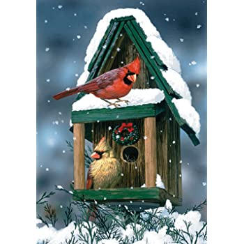 """Winter Garden Flag Cardinal Pine Snow Two Sided Different Picture 12.5/"""" X 18/"""""""