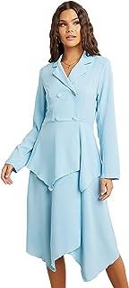Double Button Closure Asymmetric Hem Midi Women's Dress