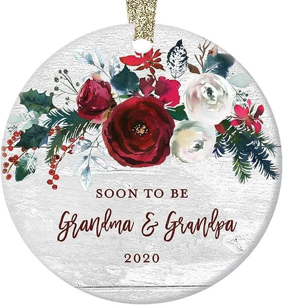 Grandma Grandpa Pregnancy Announcement Christmas Ornament Newborn Baby Due 2020 Soon To Be Grandparents Modern Farmhouse Ceramic Floral Keepsake 3 Flat Circle Porcelain W Gold Ribbon Free Box