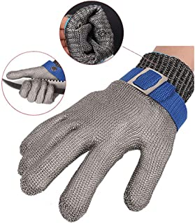 Cut-Proof Gloves, Safety Protective Gloves, Stainless Steel Mesh Gloves, Level 5 Protection, Kitchen Butcher Safety Workin...