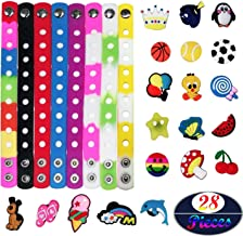 Seasonsky 7 Ihch 8 Colors Kid Silicone Bracelet with 20 Different Shape Shoes Charms, Surprised for Wristband Bracelet, DIY Bracelet, Kid's Party Gifts