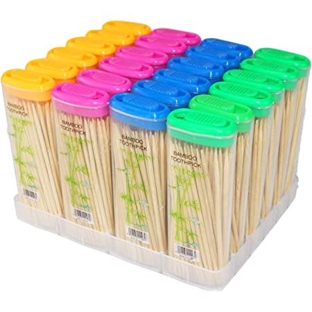 Includes 150 Natural Wood Toothpicks 3-pack Toothpick Travel Storage Containers with Dispenser Lids One 3-pack
