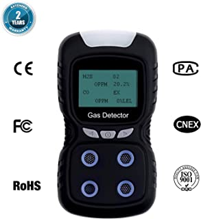 4 in 1 Gas Detector, Gas Leak Detector with Clip Gas Monitor Analyzer Rechargeable Fire Alarm with LCD Display Sound Light Vibration