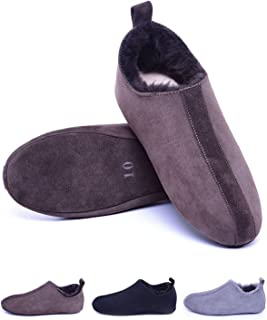 Men's Sheepskin Slippers of Soft Sole,Shearling Lined Leather House Slippers for Men Women,Slip on Indoor Shoes Warm Soft for Winter