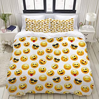 WINCAN Duvet Cover Queen Size Smiley Face Character Illustration Feeling Happy Surprised Cool and in Love 3pc Bedding Set (1 Duvet Cover and 2 Pillow Shams) 90