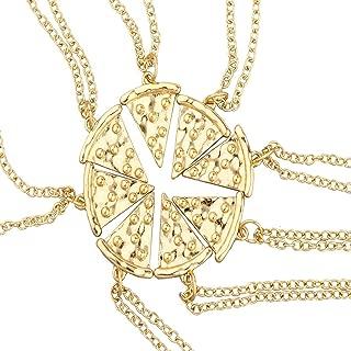 Lux Accessories Burnish Best Friends Forever Pizza Pie Slice Necklace 8PC