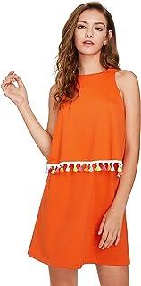 Romwe Womens Round Neck Tassel Trim Sleeveless Mini A-line Dress