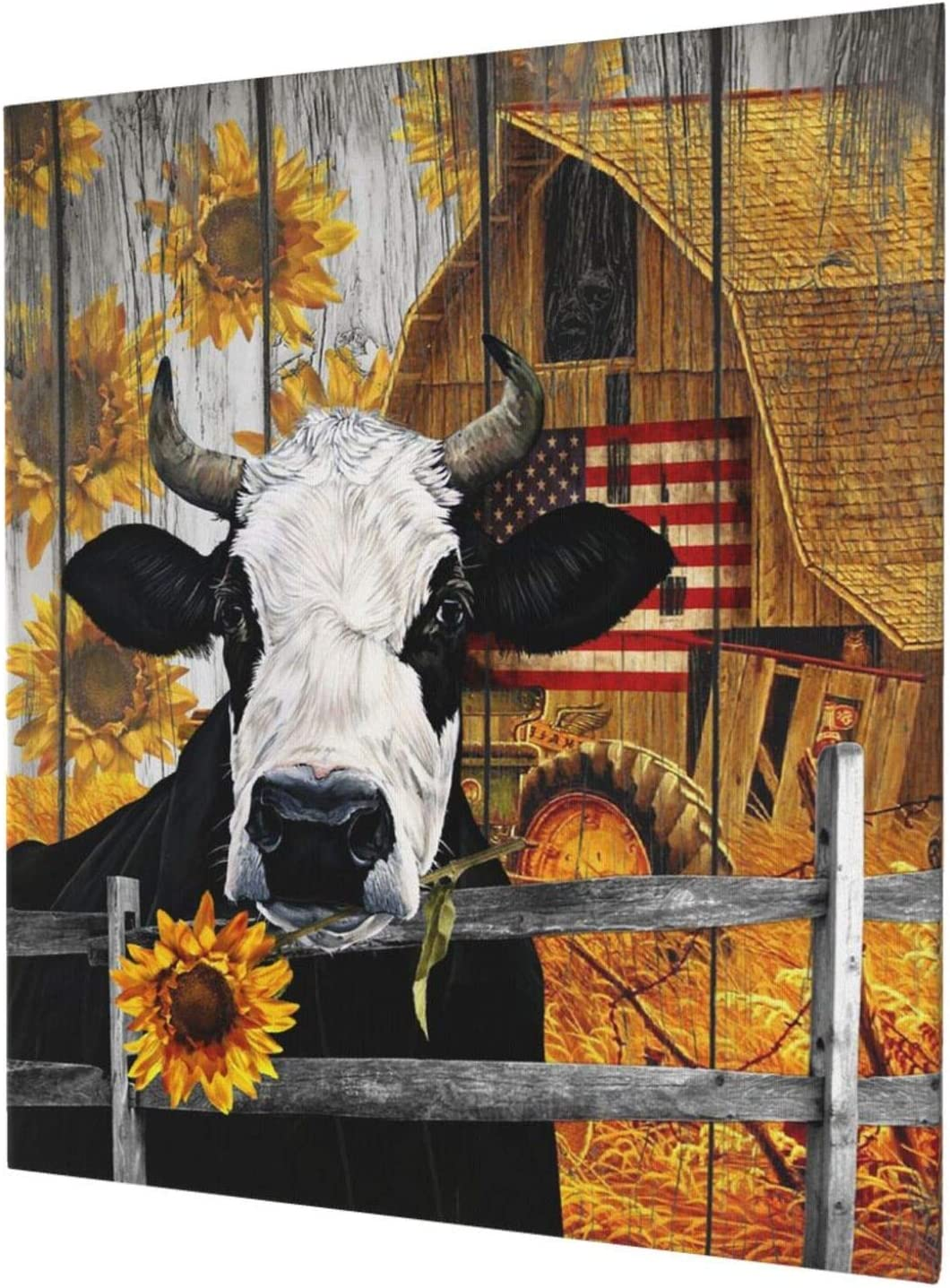 Rustic Funny Farm Sales Cow Sunflower Prints Canvas Livin Art Wall Sale price For