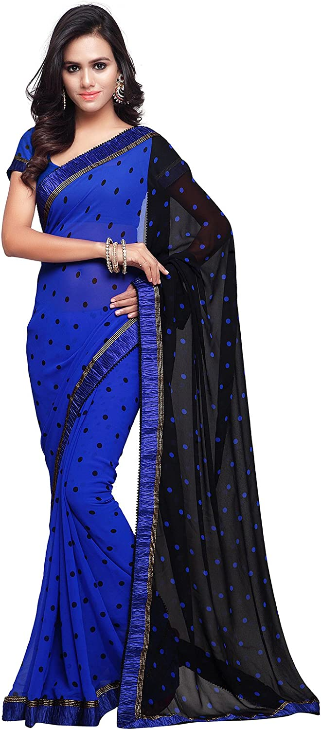 Bollywood Saree for Women Printed Wedding Traditional Indian Sari (236_bluee)