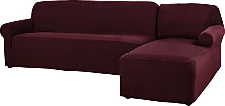 CHUN YI 2 Pieces L-Shaped Jacquard Polyester Stretch Fabric Sectional Sofa Slipcovers (Right Chaise(2 Seats), Wine)