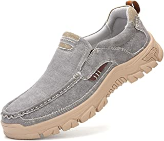 VENSHINE Mens Canvas Slip On Loafers Casual Walking Office Driving Breathable Shoes