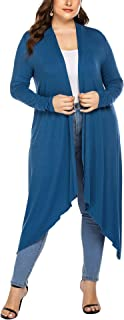 IN'VOLAND Women's Plus Size Long Sleeve Waterfall Asymmetric Drape Open Long Maxi Cardigan