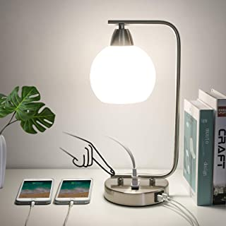 Touch Control Table Lamp, USB Desk Lamp with AC Outlet, Modern Dimmable Lamp White Opal Glass Shade Minimalist Lamp Silver...