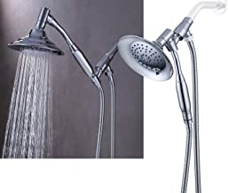 G-promise Double Height Positioning Shower Head, High Pressure Shower Heads with Handheld Spray, Adjustable Metal Bracket Holder,Extra Long Stainless-Steel Flexible Hose (Chrome)